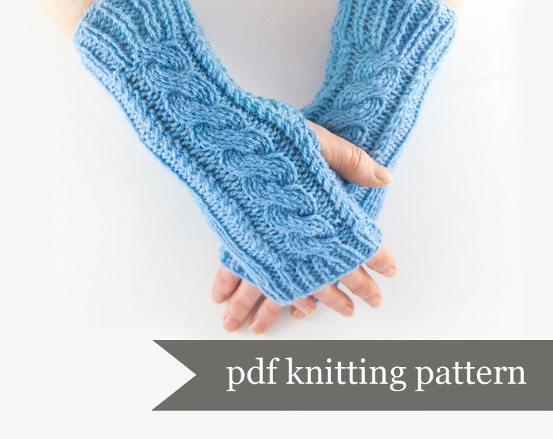 Knit Arm Warmer Pattern : Arm Warmer Knitting Pattern. Fingerless Gloves Pdf Pattern.