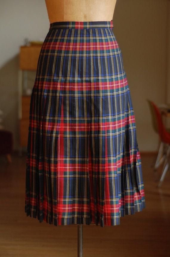 reversible pleated wool skirt