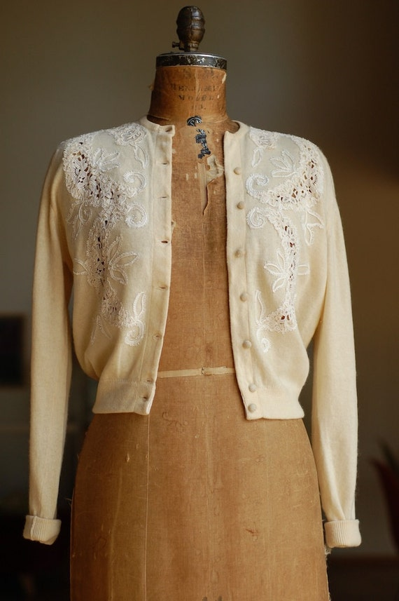 RESERVED - vintage cashmere sweater with lace