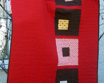 Modern  Quilt for sale, Red and Brown Cottage in the Woods Quilt.