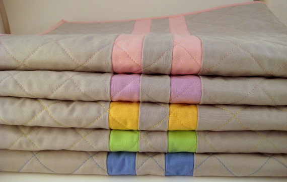The Colors of Spring, Cuddle Quilt for Baby, in gray and blush pink