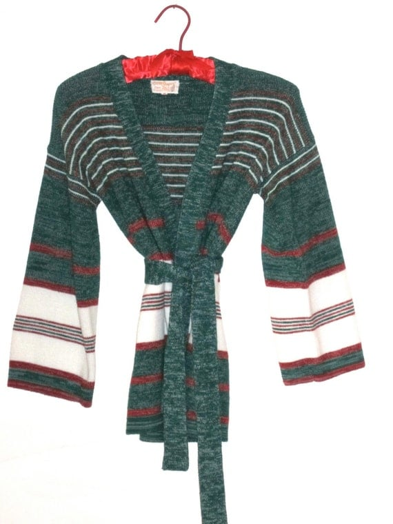 1970's Striped Knit Kimono Sweater 3/4 Sleeves with Matching Belt - Green, White & Red Size Women's Medium