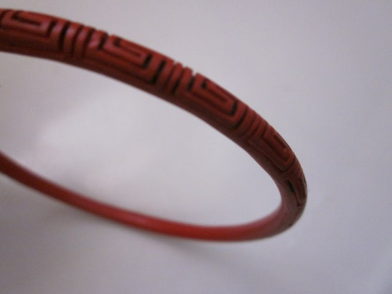 VINTAGE CINNABAR BRACELET carved with greek key design