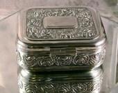 SALE --  Vintage Square Jewelry Or Trinket Box Casket Red Velvet Lining