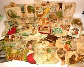 Huge lot AUTHENTIC vintage Victorian era cards for scrapbook lovers and collectors