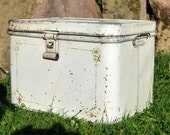 dirty white SAVORY vintage large bread box deco original gold stencils signed rusty cottage chic
