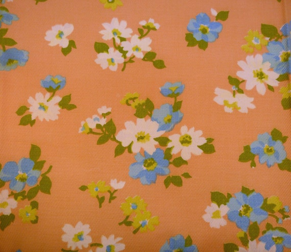 vintage melon orange chartreuse and blue daisy fabric cotton twill