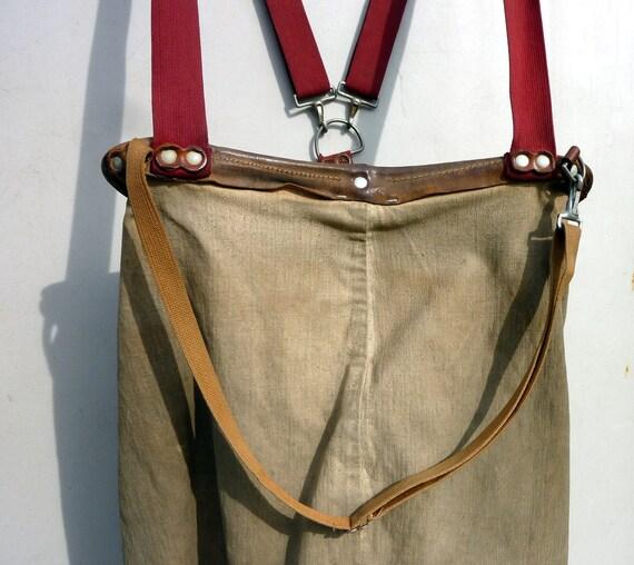 Old Jim Dandy Apple Picker Canvas Bag Leather Trim Wehatchee