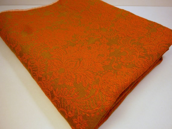 vintage brocade fabric bold colored - orange and green gold    70s era