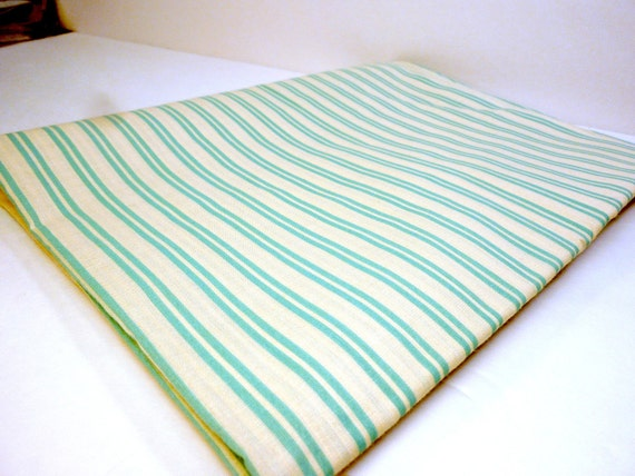 vintage striped cotton fabric clean fresh minty green and white 2 yds