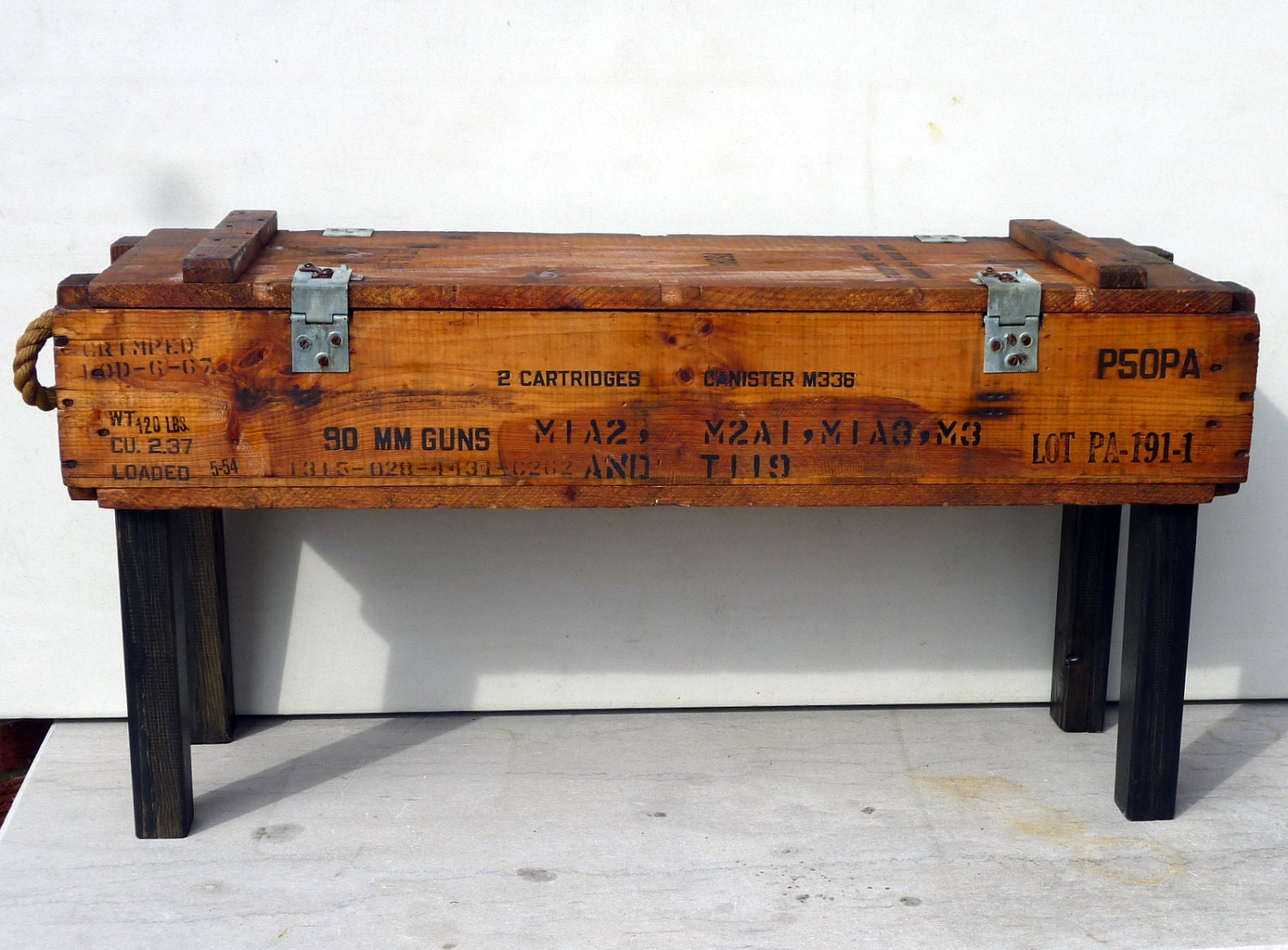 50s AMMUNITION Box Benchtable Pine Upcycle Recycle Rope