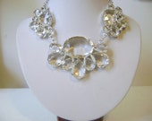 Bridal Crystal Necklace, Bridal Necklace Statement, Clear Crystal Necklace