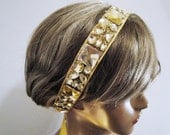 Free Shipping: Gold Headband with Crystal Embellishment - Hair Accessory, Bridal