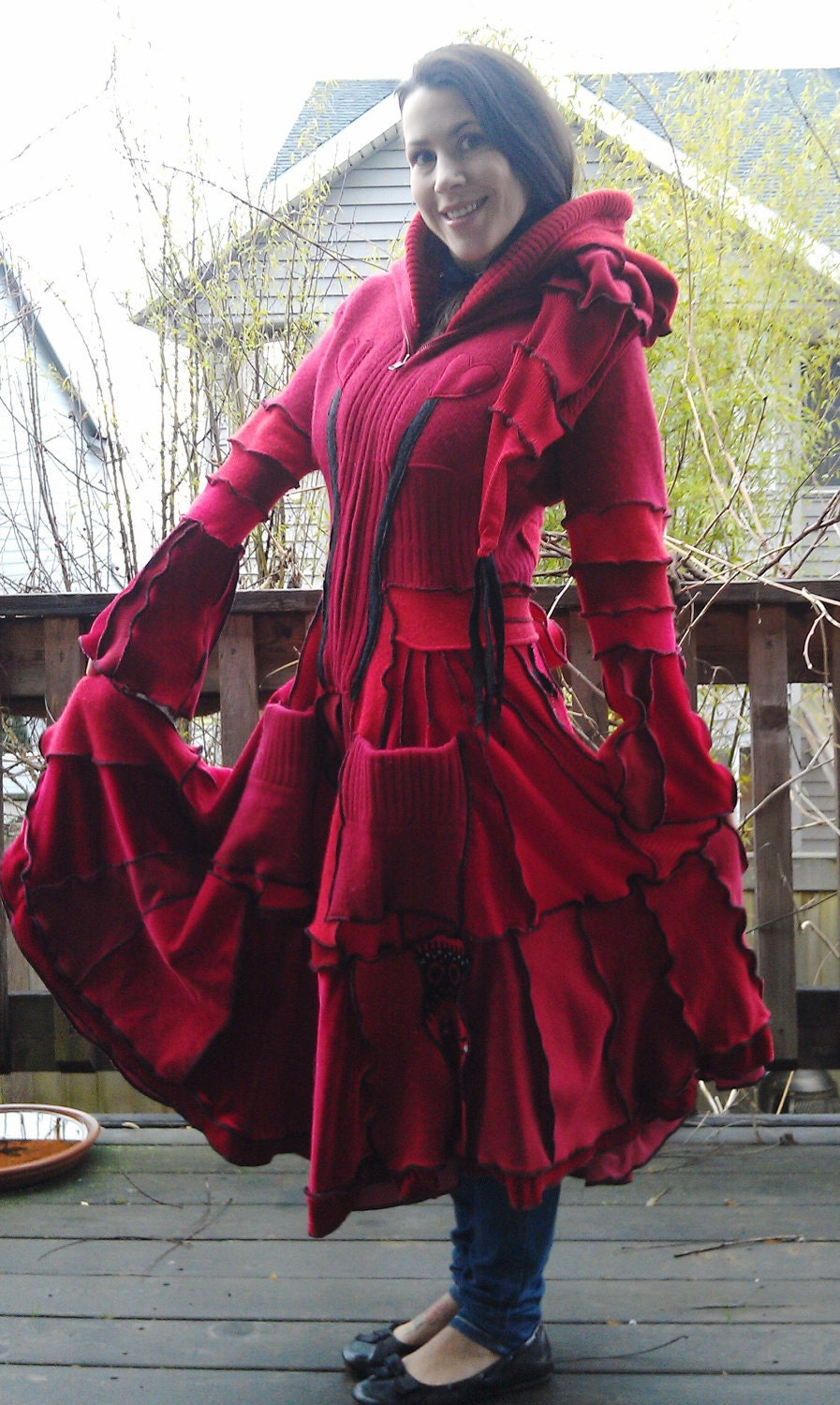 Red Riding Hood Womens Sweater Coat Repurposed By