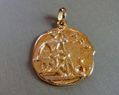 Vintage Kenneth Lane 1980s Era Egyptian Medallion - FREE SHIPPING in the US