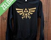 Unisex Zelda Raglan Pullover  -  The Hyrule Crest/Triforce from the Legend of Zelda - Choose Size - MADE TO ORDER - American Apparel
