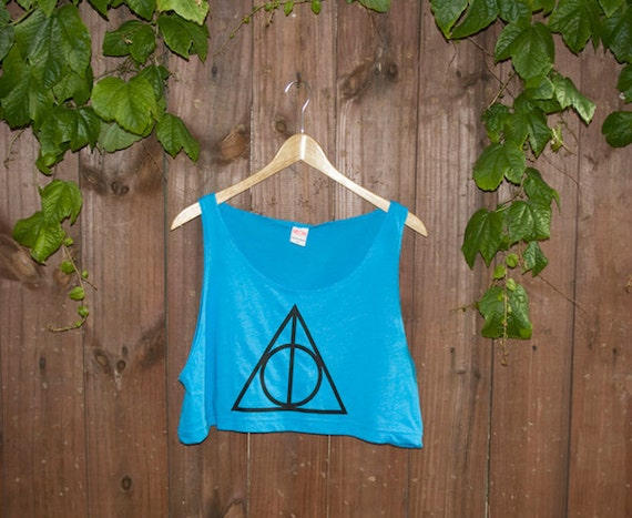 Deathly Hallows Loose Crop Tank - Neon Heather Blue - One Size
