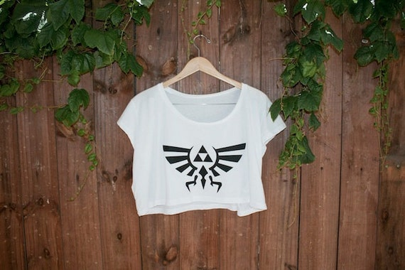 Hyrule Crest/Triforce from Legend of Zelda - Loose Crop Tee - Black on White - One Size - Made to Order