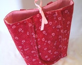 Tote bag, Heart Tote Bag, Cloth Purse, Handmade Handbag, Fabric Bag, Red, Pink, Hearts, Swirls, Love, Shoulder Bag