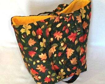 Tote Bag, Thanksgiving Bag, Cloth Purse, Handmade Handbag, Fabric Bag, Autumn, Acorns, Green, Gold, Yellow, Shoulder Bag