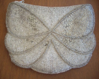 Vintage Silver Fully Beaded Purse by Madrid