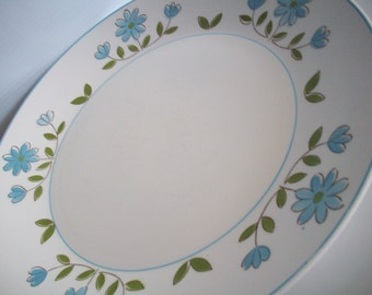 """Blue Daisy 12"""" Large Round Platter/Plate"""