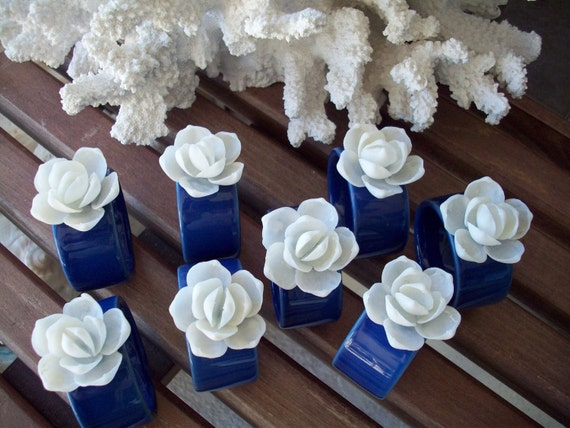 White Clam Shell Flower Napkin Rings, set of 8