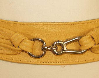 Yellow Leather Belt with Silver Hook
