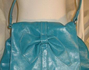 """Turquoise Croc Hobo Shoulderbag Handbag with Abstract """"Bow"""""""
