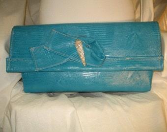 Turquoise Envelope/Clutch Handbag