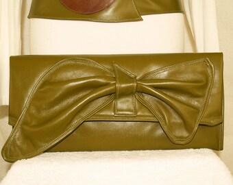 Khaki Kiwi Pea Green Envelope Clutch Handbag with Swoosh Butterfly Bow