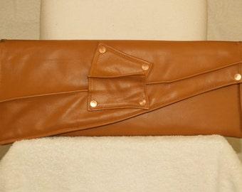 Asymmetric Camel Caramel Tan Leather Envelope Long Clutch Handbag