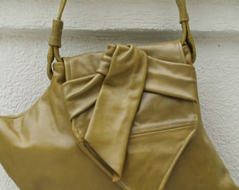 Green Leather Hobo Handbag with a Twist - Signature Shape
