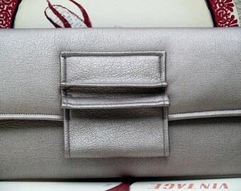 Silver Metallic Vegan Envelope Clutch Handbag with Pleated Tab Closure