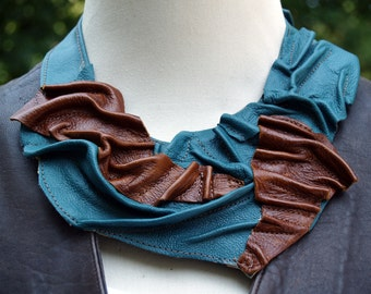 Teal and Brown Leather Bib - Waves of Leather