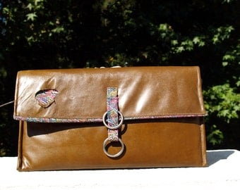 """SALE Distressed Brown Leather """"Hole in One"""" Clutch Handbag Purse"""