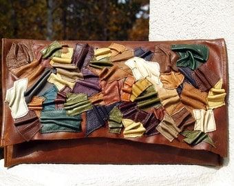 Brown Distressed Leather Handbag Clutch Envelope with Multi Colored Scrunched Leather Accent and Natural Raw Leather Edge