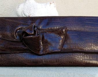 Brown Croc Vegan Handbag with Knotted Accent A Long Clutch Envelope Handbag