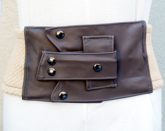 Gray Leather Belt with Natural Woven Fabric and Gunmetal Studs and Snaps