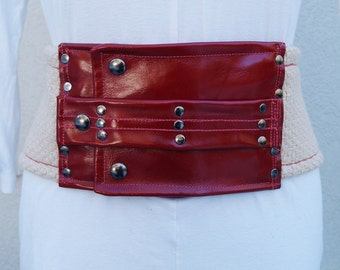 Natural Woven Fabric Belt with Red Leather Trim