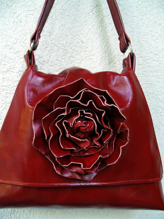 Red Leather Rose Hobo Handbag - The Trapezoid