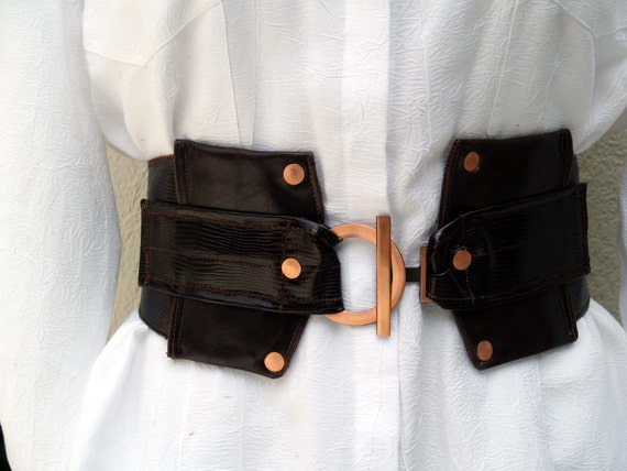 Brown Leather Croc Belt with Copper Accent