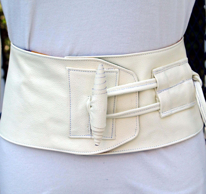 Creamy White Leather Corset Obi Belt with Toggle