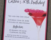 "Cosmopolitan ""Sex and the City"" Style Invitation 2 -- PRIVATE LISTING"