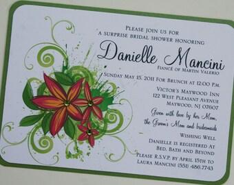 Hawaiian Luau Plumeria Bridal Shower Invitation