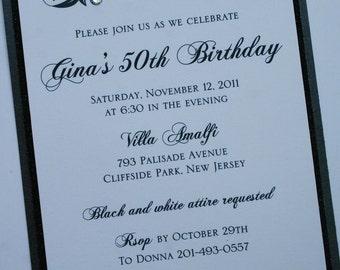 Black and White Elegance Formal Birthday Invitation