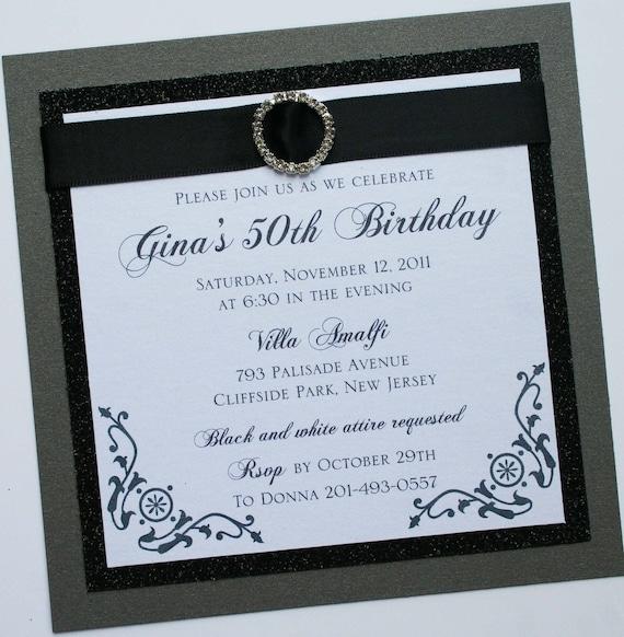 Black and White Elegance Birthday Invitation with Rhinestone Buckle