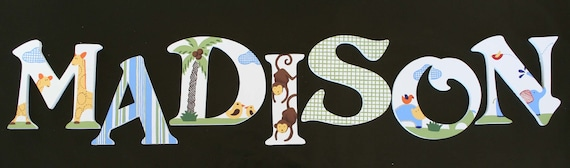 Handpainted Wooden Letters inspired by Jungle Friends