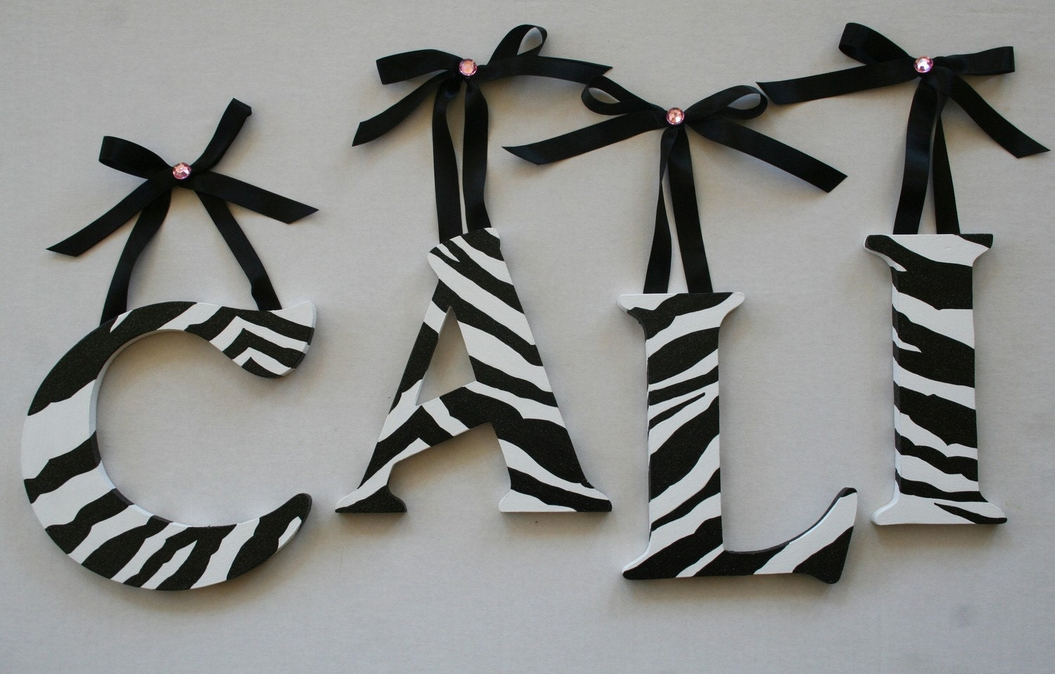 ZebraPrint handpainted wooden wall letters by atouchofsunshine1
