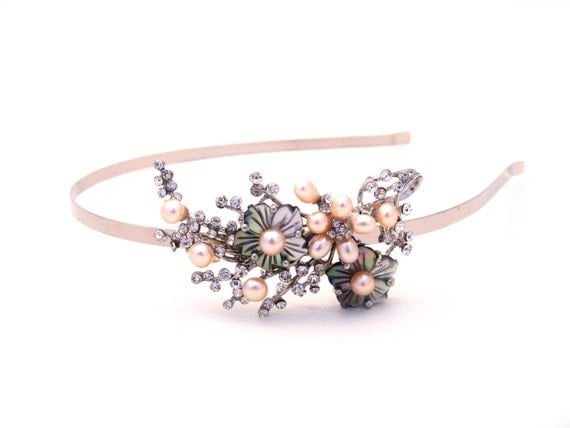 NEW Cherry Blossom Hairband, Dazzling Peach Pearls, Floral-themed wedding, HARPER